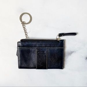 Coach Black Leather Coin Purse w/Key ring